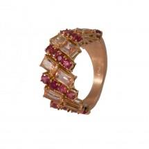 Anel com Topázio Imperial e Turmalina Rosa em Ouro Rosa 18k - Alexandre Afrange