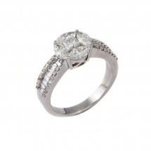 Anel com Diamantes Navete e quadrados em Ouro branco 18k - Patricia Centurion