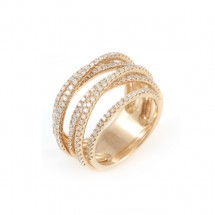 Anel 7 Aros em Ouro Rosa com Diamantes