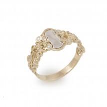 Anel Espelho Estreito Romântica Floral em Ouro amarelo 18k c/ Diamantes 0,11 cts - Patricia Centurion