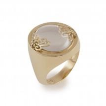 Anel Espelho Cristal Romântica Floral em Ouro amarelo 18k c/ Diamantes - Patricia Centurion