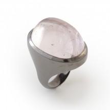 Anel Espelho em Prata 925 Oxidada com Turmalina rosa - Patricia Centurion