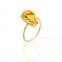 Anel Solitário com Citrino bruto em Ouro amarelo 18k - Patricia Centurion