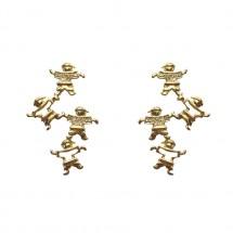 Brinco 4 Eugênios vazado em Ouro amarelo 18k c/ 7 Diamantes camisa - Patricia Centurion