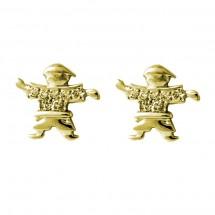 Brinco Eugênio em Ouro amarelo 18k c/ 7 Diamantes camisa - Patricia Centurion