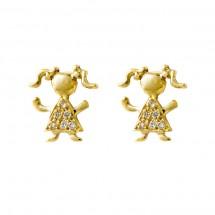Brinco Maria em Ouro amarelo 18k c/ 6 Diamantes vestido - Patricia Centurion