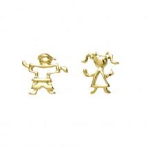 Brinco misto Maria e Eugênio vazado em Ouro amarelo 18k - Patricia Centurion