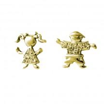 Brinco misto Maria e Eugênio em Ouro amarelo 18k  C/ Diamantes - Patricia Centurion