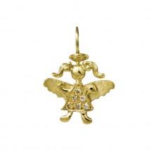 Pingente Anjo Maria em Ouro amarelo 18k c/ Diamantes - Patricia Centurion