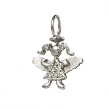 Pingente Anjo Maria em Ouro branco 18k c/ Diamantes - Patricia Centurion