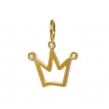 Pingente Coroa Vazada em Ouro Amarelo 18k com 3 Diamantes - Patricia Centurion