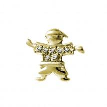 Pingente Eugênio Ouro amarelo 18k c/ 14 Diamantes camisa - Patricia Centurion