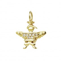 Pingente Anjo Eugênio em Ouro amarelo 18k c/ Diamantes - Patricia Centurion