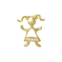 Pingente Maria em Ouro amarelo 18k c/ Diamantes babado - Patricia Centurion