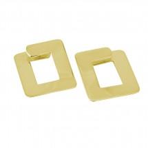 Brinco Clip on Quadrado em Ouro banco 18k - Patricia Centurion